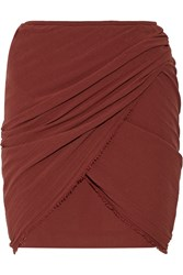 Isabel Marant Gray Ruched Cotton Gauze Mini Skirt Red