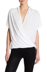 David Lerner Low Cut Surplice Short Sleeve Shirt White