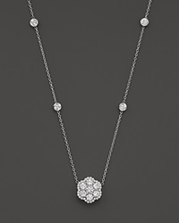 Bloomingdale's Diamond Flower Cluster Pendant Necklace In 14K White Gold 1.50 Ct. T.W.