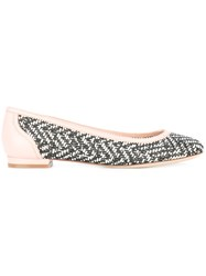 Salvatore Ferragamo Woven Panel Ballerina Shoes Black