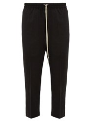 Rick Owens Astaires Cropped Crinkled Wool Blend Trousers Black