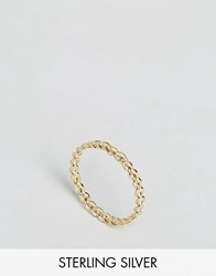 Asos Gold Plated Sterling Silver Plait Ring Gold