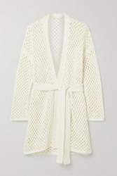 Agnona Belted Open Knit Cardigan White