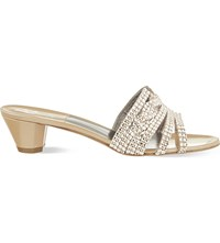 Gina Galaxy Embellished Patent Leather Heeled Sandals Cream