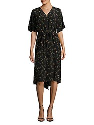 Set Floral Print Silk Button Front Dress Black