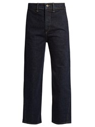 Vince High Rise Straight Leg Cropped Jeans Dark Blue