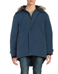 Company Of Adventurers Coyote Fur Trimmed Parka Slate Blue