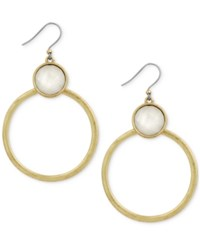 Lucky Brand Gold Tone Stone Gypsy Hoop Earrings
