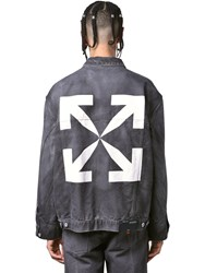 Off White Arrows Print Cotton Denim Jacket Black