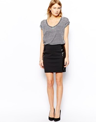 Mango Shiny Panels Skirt Black
