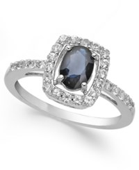 Macy's Sapphire 1 3 8 Ct. T.W. And White Sapphire 1 2 Ct. T.W. Ring In Sterling Silver