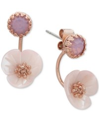 Lonna And Lilly Rose Gold Tone Flower Stone Front Back Earrings