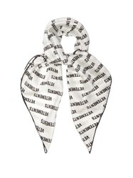 Vetements Logo Print Silk Satin Scarf White