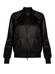 Valentino Rockstud Untitled Satin Bomber Jacket Black