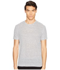 Atm Anthony Thomas Melillo Striped Linen Relaxed Fit Crew Black White Stripe Men's T Shirt