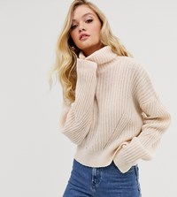 Micha Lounge Luxe Roll Neck Jumper In Wool Blend Cream