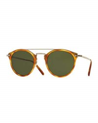 Oliver Peoples Remick Monochromatic Brow Bar Sunglasses Semi Matte Light Brown Green