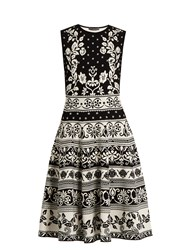 Alexander Mcqueen Floral Jacquard Knit Dress Black Multi