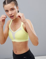 Puma Curl Mesh Panel Bra In Lime Yellow