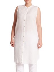 Eileen Fisher Plus Mandarin Collar Long Shirt White