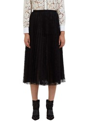 Valentino Mid Length Pleated Lace Skirt Black
