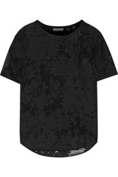 Equipment Riley Fil Coupe Cotton And Silk Blend Voile Top Black