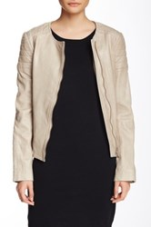 Soia And Kyo Trudy Collarless Leather Moto Jacket Beige