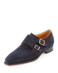 Corthay Arca Suede Double Monk Shoe Navy