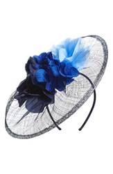 Nordstrom Women's Floral Bouquet Fascinator Headband Blue Navy Combo