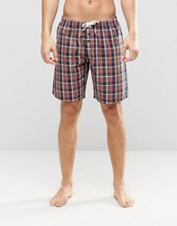 Esprit Lounge Pants Woven Check In Regular Fit Red