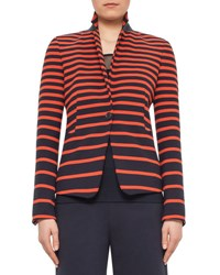 Akris Punto Graphic Striped One Button Jacket Navy Rust
