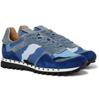 Valentino Garavani Rockstud Suede And Camouflage Print Shell Sneakers Royal Blue