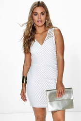 Boohoo Jasmine Sheer Panel Bodycon Dress Ivory
