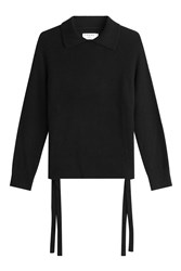 Frame Denim Cashmere Pullover With Ties At The Sides Black