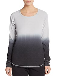Andrew Marc New York Ombre Waffle Knit Top Pebble Black