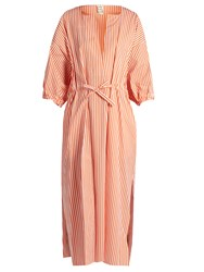Maison Rabih Kayrouz Drawstring Waist Cotton Poplin Dress Orange Stripe