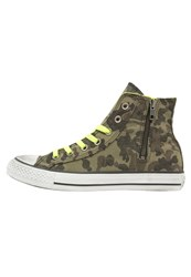 Converse Chuck Taylor All Star Hightop Trainers Green Neon Yellow Mottled Olive