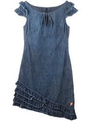 Walter Van Beirendonck Vintage Ruffled Hem Denim Dress Blue