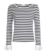 Claudie Pierlot Metal Striped Cotton Sweater Female White