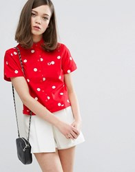 Fred Perry Amy Winehouse Foundation Polka Dot Bowling Shirt Lipstick Red