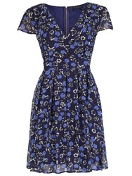 Pussycat Floral Print Crossover Neck Dress Navy