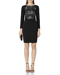 Reiss Libby Lace Detail Dress Black Nude