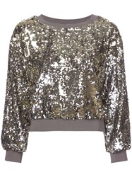Alice Olivia Smith Cropped Sweater Grey
