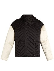 Isabel Marant Hector Chevron Quilted Silk Coat Black Multi