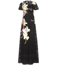 Valentino Lace Dress With Floral Applique Black