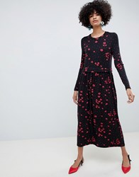 Selected Femme Floral High Neck Midi Dress Floral Print Multi
