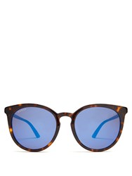 Gucci Round Frame Acetate Sunglasses Brown Multi