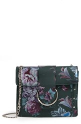 Leith Metal Ring Faux Leather Crossbody Bag Green Green Floral