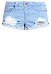 Noisy May Petite Nmfran Denim Shorts Light Blue Denim