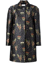 Red Valentino Floral Jacquard Midi Coat Black